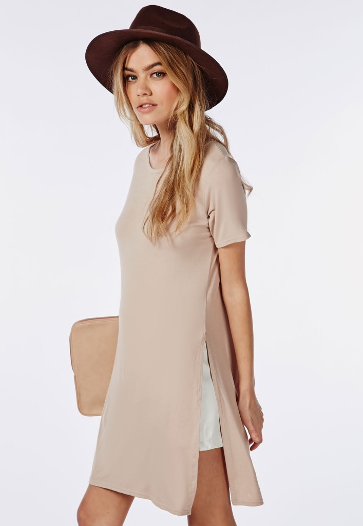 Split Side T Shirt in Taupe, Missguidedus.com