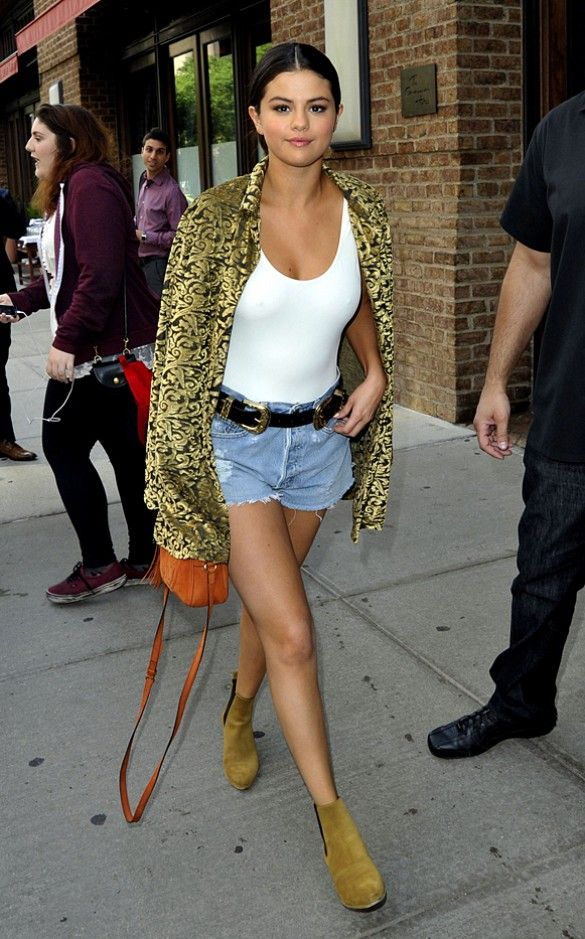 Selena Gomez White Bodysuit Western Belt Denim Shorts Saint Laurent Boots