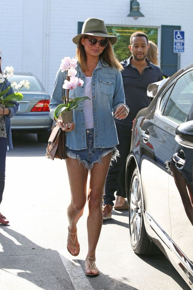 Chrissy Teigen Chambray Denim Top White T Shirt Cutoff Shorts Hat Model Style