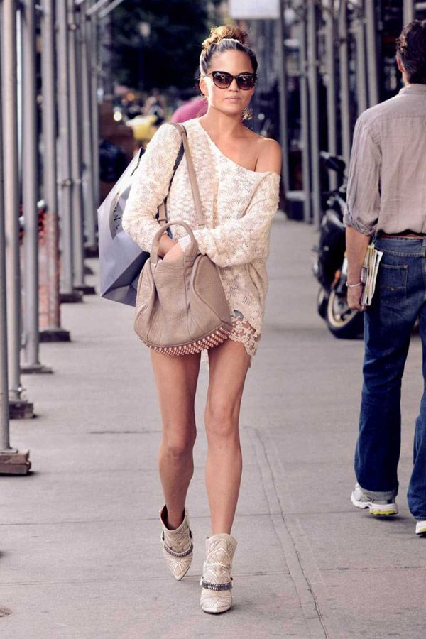 Chrissy Teigen Lace Knitted Top Denim Shorts Booties Nude Colored Model style
