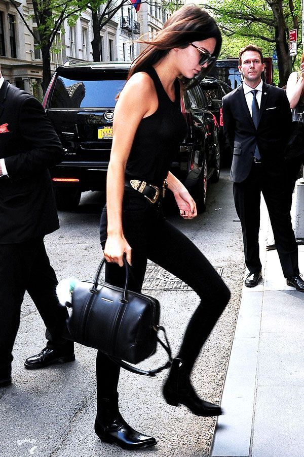 Kendall Jenner All Black Western Belt Model Style