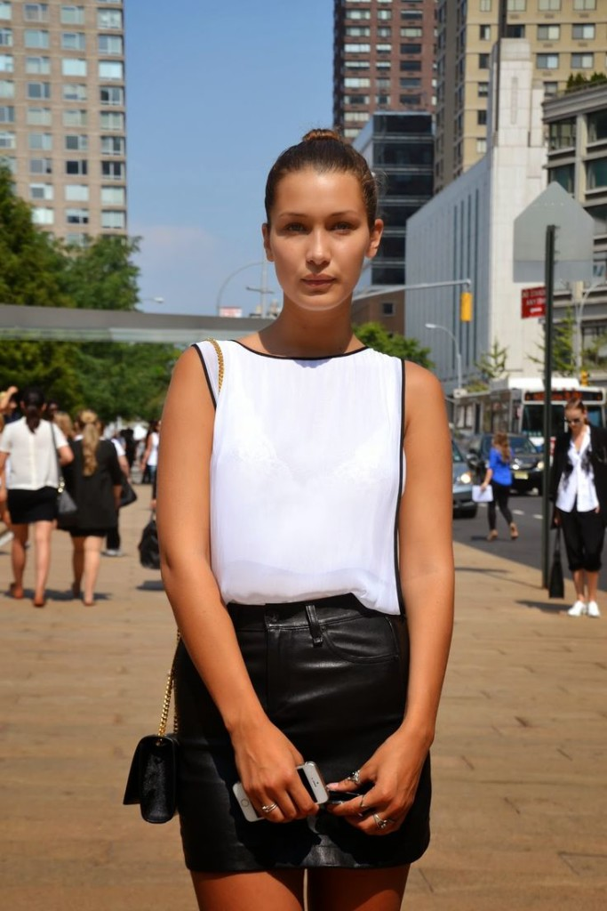 Bella Hadid White Top Black Leather Skirt Model Style