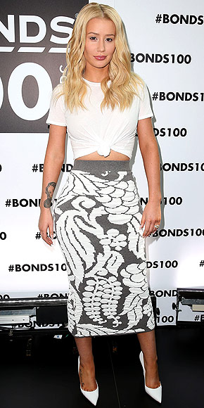 Iggy Azalea Tied Up White Tee Long Pencil Skirt