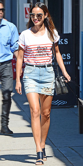 Jamie Chung Denim Skirt Striped Top Mules