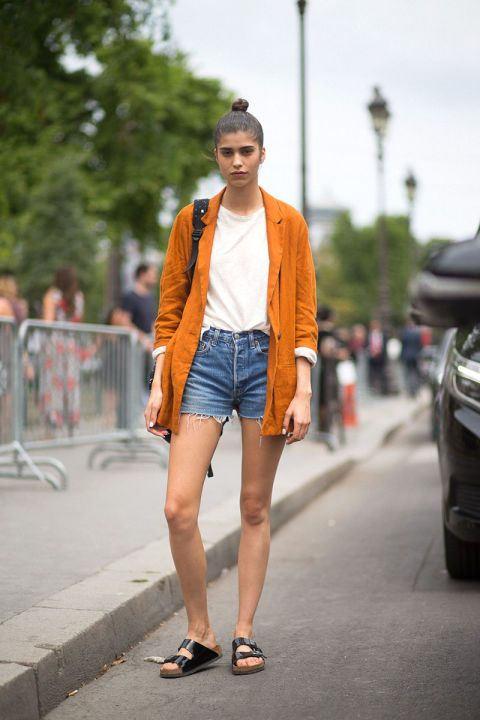 Mica Arganaraz Orange Jacket White Tee T Shirt Tank Denim Shorts Style