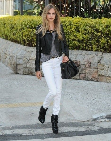 Cara Delevingne Gray T Shirt Black Leather Jacket Boots White Jeans Fall Summer Style