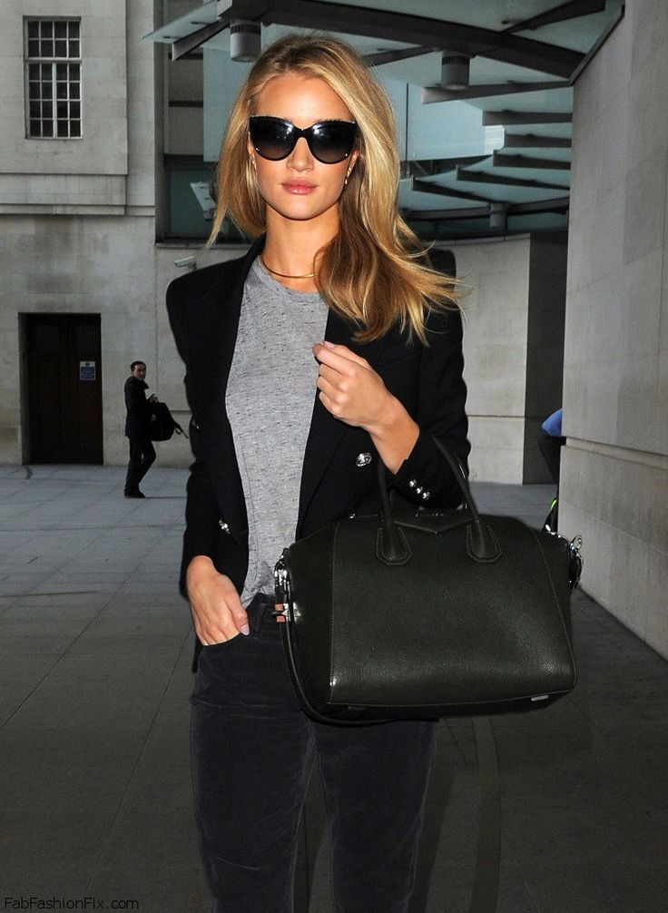 Rosie Huntington-Whiteley Gray T-Shirt Shirt Black Blazer Jeans Givenchy Fall Summer Style