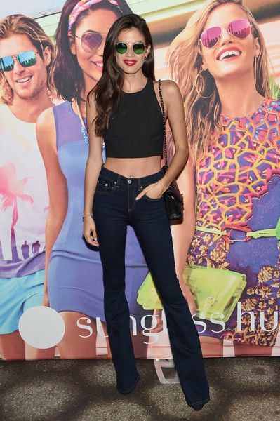 Sara Sampaio Blue Jeans Black Crop Top Model Style