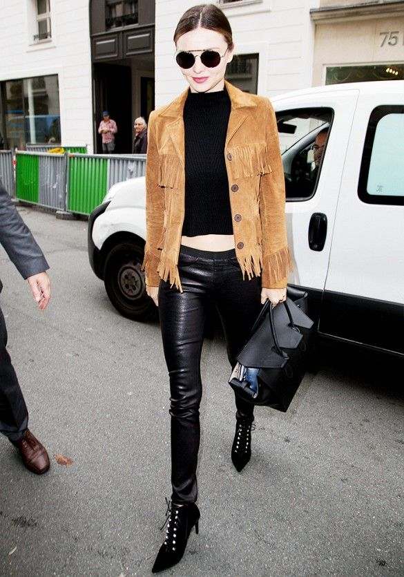 Miranda Kerr Fringed Jacket Black Outfit Model Style