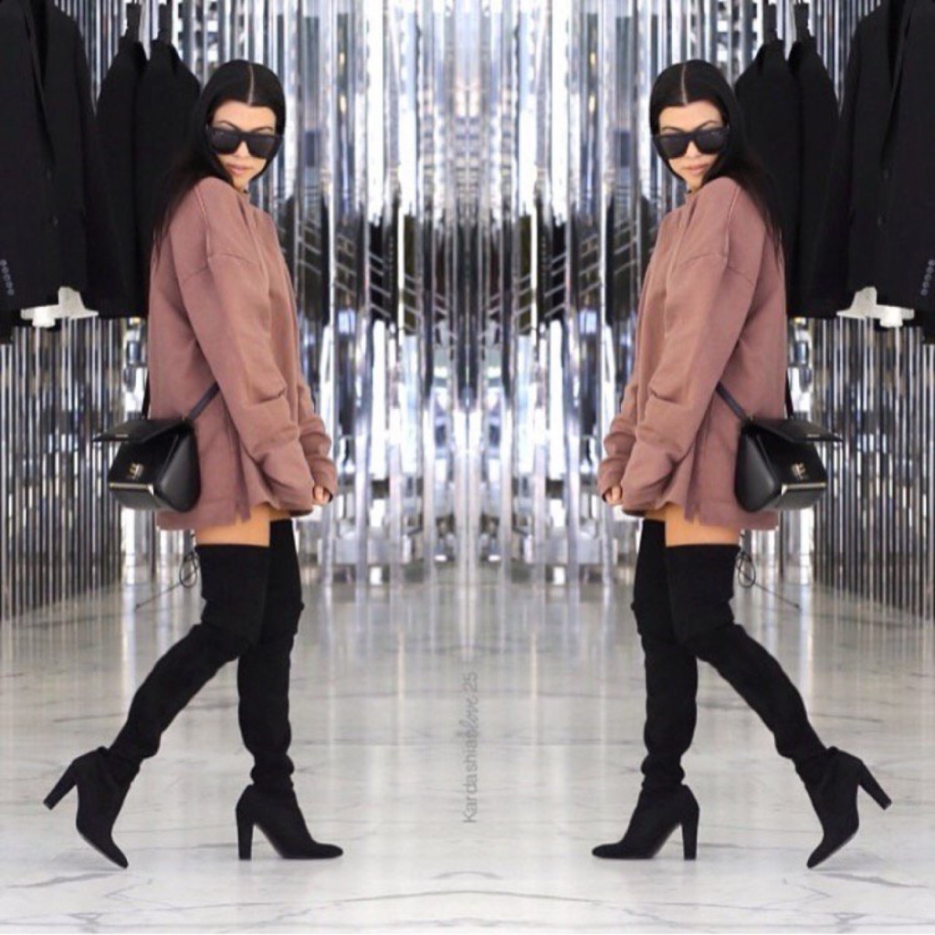 Kourtney Kardashian Yeezy sweater Stuart Wietzman Thigh High Boots