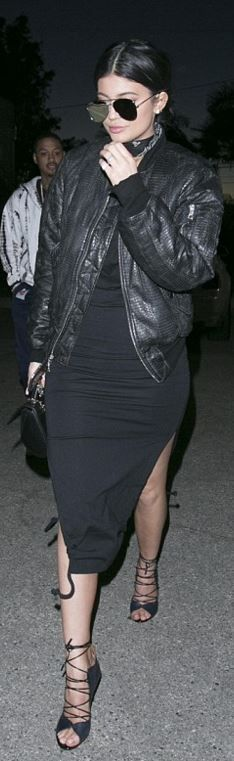 Kylie Jenner Bandanna necklace all black dress bomber jacket