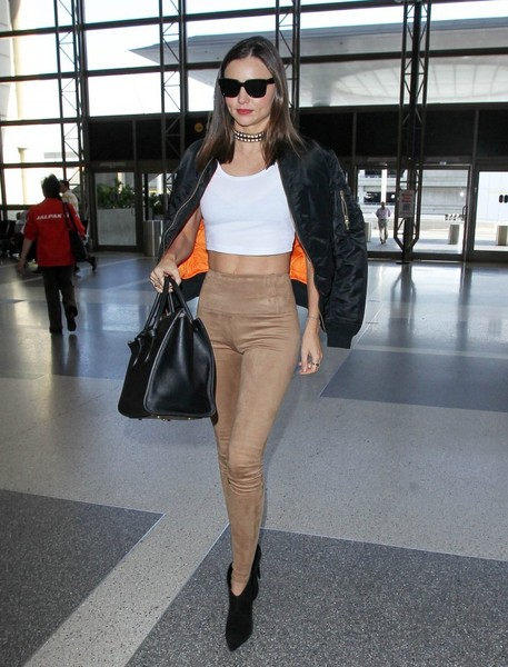 Miranda Kerr Suede Leggings White Top Choker