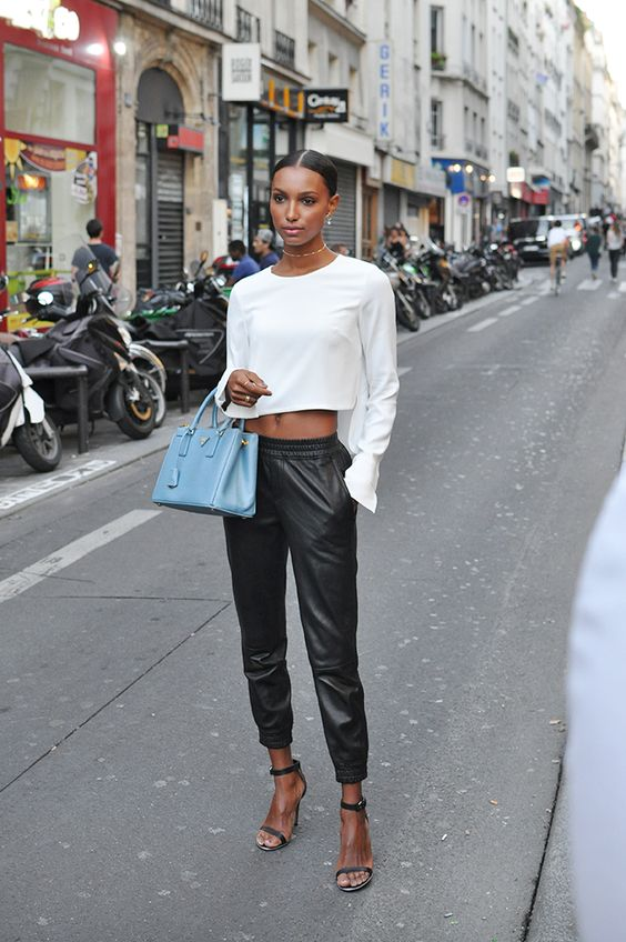 Jasmine Tookes leather harem pants cropped top model style