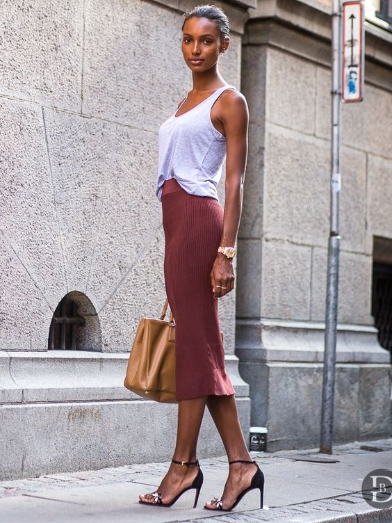 Jasmine Tookes tank top maroon skirt model style