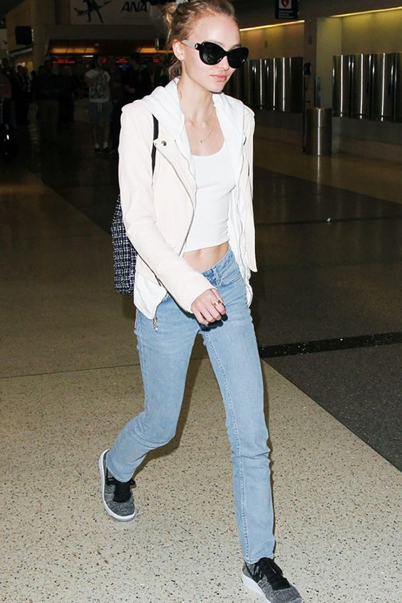 Lily Rose Depp full length jeans white top cream jacket