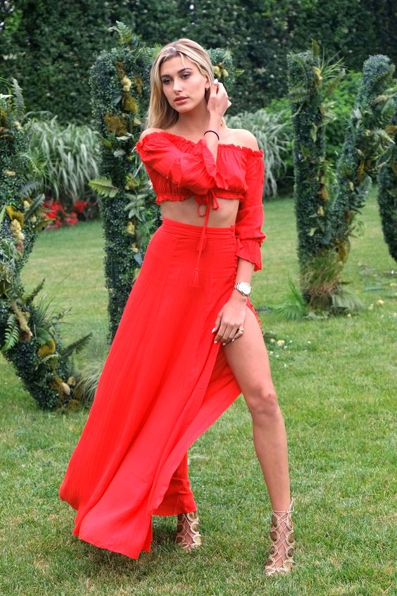 Hailey Baldwin revolve red crop top and maxi skirt