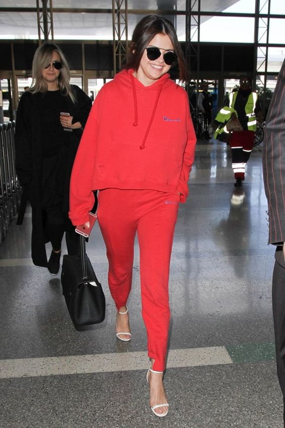 Selena Gomez red hoodie sweat bottoms style