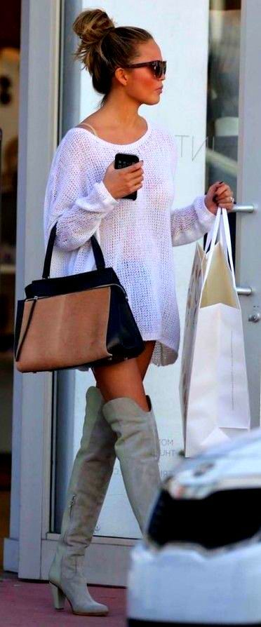 chrissy-teigen-knitted-sweater-thigh-high-boots-model-style