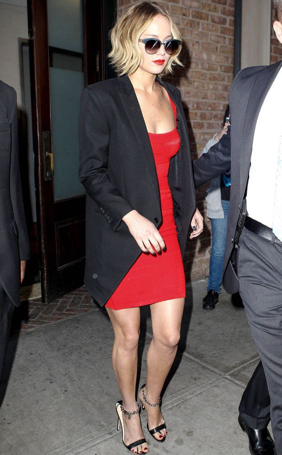 jennifer-lawrence-red-dress-and-black-blazer