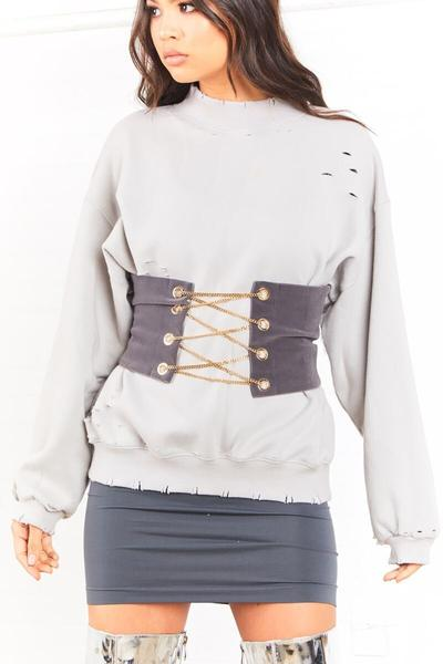 Sorella boutique grey chained velvet bustier belt